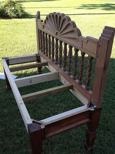 How to make a bench from an end table and headboard.