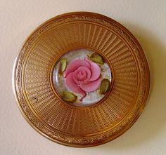 Vintage Guilloche Enamel Floral Cameo compact by damselfly58, via Flickr