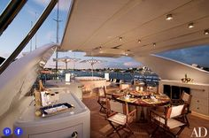 The sundeck of the 155-foot Benetti motor yacht is a casual gathering place, designed by Bernard Desjardins.