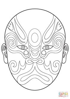 Chinese Opera Mask 1 | Super Coloring