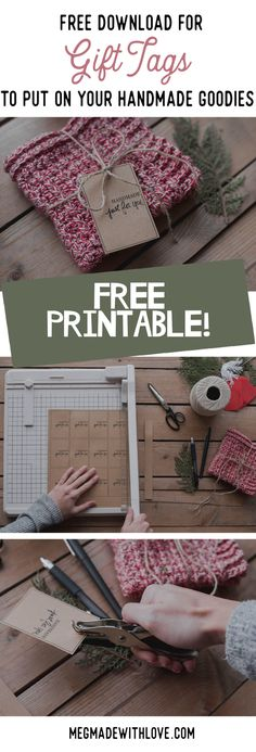 A Free Download for Gift Tags to Put on Your Handmade Goodies - Free Printable - Megmade with Love