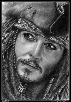 Jack Sparrow by iSaBeL-MR on DeviantArt zeichnen Pencil Sketch Portrait, Portrait Au Crayon, Portrait Sketches, Portrait Art, Portraits, Realistic Pencil Drawings, Pencil Art Drawings, Amazing Drawings, Art Drawings Sketches