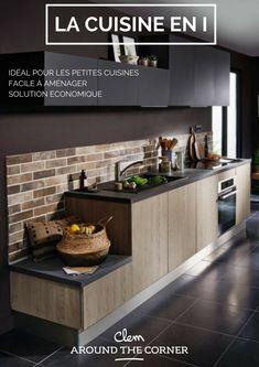 conseils pour aménager une une cuisine en i avantage kitchenette noire et bois chene style moderne
