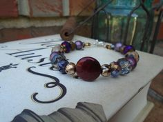 Purple and Gold Elegance Toggle Clasp Bracelet by MyBelleOriginals