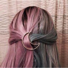 Crescent Barrette Gold Tone Waxing Moon Celestal Hair Clip Bohemian Nature Worship Hairpin