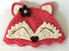Crochet+el+sombrero+de+zorro+rosa+por+WillowHillKidsToo+en+Etsy