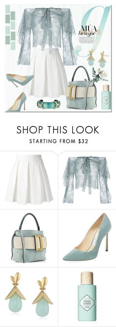"""""""Untitled #3688"""" by kellie-debrandt-mescher ❤ liked on Polyvore featuring Boutique Moschino, Philosophy di Lorenzo Serafini, Jimmy Choo, Lele Sadoughi, Benefit and Alexis Bittar"""