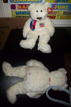 4a2398de254 Retired 19207  Ty Beanie Babies Buddies X Large Extra Large Liberty Bear  White W Flag