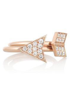 Anita Ko Arrow set of two 18-karat rose gold diamond rings NET-A-PORTER.COM