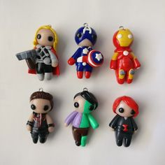Handmade Creations by Polymer Clay Projects, Polymer Clay Charms, Clay Crafts, Disney Clay Charms, Etsy Earrings, Chain Earrings, Biscuit, Avengers 2012, Miraculous