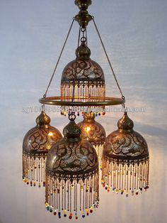 BR385 Gorgeous Brass Ring 5 Down Light Moroccan Mosaic Beaded Chandelier