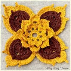 How to Crochet Flower Granny Square Baby Blanket Granny Square Crochet Pattern, Crochet Squares, Crochet Motif, Irish Crochet, Crochet Doilies, Hand Crochet, Crochet Buttons, Crochet Geek, Diy Crafts Crochet