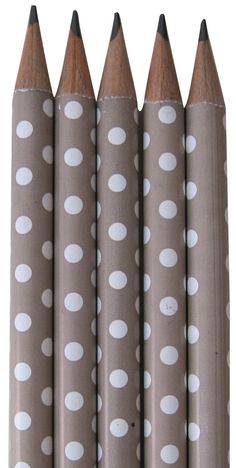 ADORABLE Taupe Polka Dot Pencils! I want these in every color!