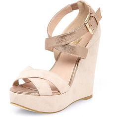 Mink cross strap wedges by None, via Polyvore