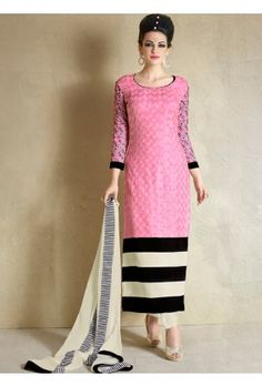 Pink and Off White Straight Georgette Pant Suit