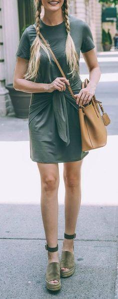Espadrilles + front wrap dress.