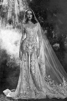 Zuhair Murad Fall 2016 illusion embroidery wedding dress.