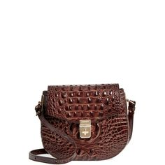 Women's Brahmin Melbourne - Lizzie Leather Crossbody Bag ($245) ❤ liked on Polyvore featuring bags, handbags, shoulder bags, chestnut, leather crossbody, white crossbody, leather shoulder bag, leather crossbody purse and white crossbody purse