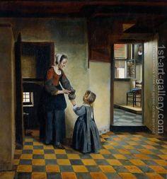 "Pieter de Hooch (Dutch, 1629-1684)  ""Woman With A Child In A Pantry"""