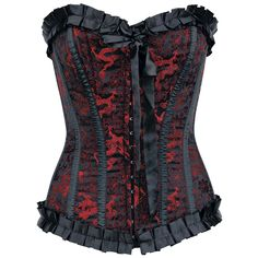 This corset with Japanese dragon pattern attracts attention!    - 16-piece boning of silicone   - hook lock at the front   - laces on the back   - frills at the seam   - loop applications at the front   -...