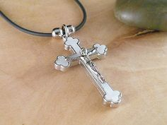 JESUS CHRIST on the HOLY  CROSS WHITE PENDANT NECKLACE BLACK ADJUSTABLE CORD