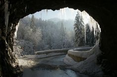 The road from Dornbirn to the mountain village of Ebnit in winter. Photo by Böhringer Friedrich