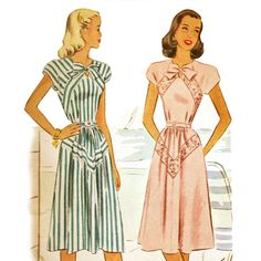 Charming 1940s day dress with bias details and pussy bow