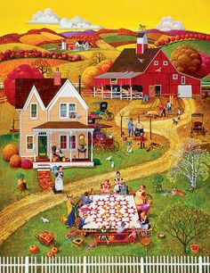 The perfect folk art puzzle with a barn, landscape and group of quilters makes this 500 piece jigsaw puzzle from Springbok a best seller! Illustrations, Illustration Art, Art Brut, House Quilts, Country Art, Naive Art, Art Graphique, Autumn Art, Shih Tzu