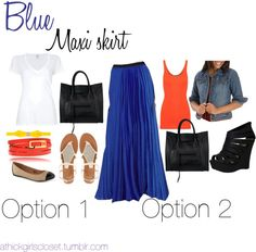 """""""Blue Maxi Skirt"""" by athickgirlscloset on Polyvore"""