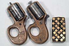 """Say Hell to 'My (little) Friend': The knuckle duster 'ring' gun of the Catskills : Back in the late 19th century, brass knuckles and small pocket revolvers were popular for personal defense. One Catskills gun maker decided to combine these two concepts in the form of a compact protection tool that could be used as both. His name was James Reid, and his little knuckleduster revolvers were simply referred to as the """"My Friend"""" series."""