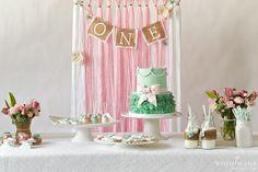 Yarn Backdrop One Year Old Girl Birthday Party Ideas.