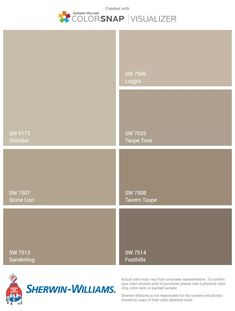Sherwin Williams Beige to Brown paitn colors scheme Shiitake Loggia Taupe To Taupe Paint Colors, Paint Color Schemes, House Color Schemes, Bedroom Paint Colors, Interior Paint Colors, Paint Colors For Living Room, Paint Colors For Home, Brown Colors, Brown Paint Schemes