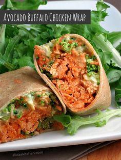Avocado Buffalo Chicken Wraps made with Greek Yogurt