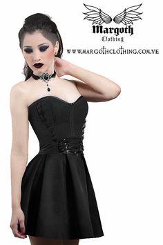 Gothic Black corset skater skirt high waisted by MargothClothing