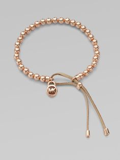Leather Beaded Braceletrose Goldtone - Lyst