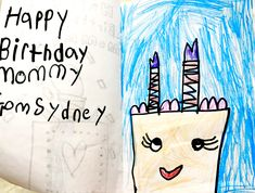 Student's drawing of a cake birthday card for her mom.