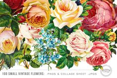 100 Small Vintage Flower Graphics by Eclectic Anthology on Creative Market