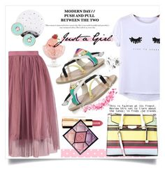 """Just a Girl"" by wuteringheights ❤ liked on Polyvore featuring Chicnova Fashion, Ancient Greek Sandals, Lollipop, Lipsy, Kate Spade, Clarins, Bobbi Brown Cosmetics, Bormioli Rocco and Christian Dior"