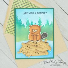 This project uses the Naughty- I Like Your Beaver set by Kindred Stamps. This card is interactive and has a fun sentiment revealed. Check out my blog for more details on this project!