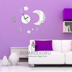 Acrylic Moon and Stars Acrylic Mirror Wall Clock For Baby Room's Wall Decoration | $39