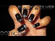 Easy Black & Silver Dotticure | DIY Nail Art Tutorial | Mani Vs Pin #11…
