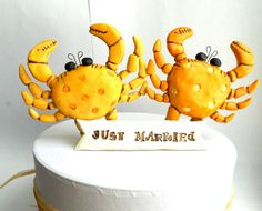 Sunset Orange Crabs In Love wedding cake topper for the Rustic Beach Wedding. $65.00, via Etsy.