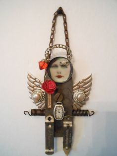 art doll doll assemblage repurposed mixed media by artysangels,