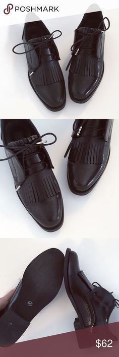 Black slim derby shoes Brand new. Super chic. Slim look with pointy head. Chic and comfortable shoes are not easy to find actually. Size fits 6.5-7 Shoes