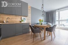 Helix Nebula Living room by Decoroom - This lovely polish apartment is filled with amazing design features that you can easily transfer to your dream house Apartment Kitchen, Living Room Kitchen, Home Decor Kitchen, Kitchen Interior, New Kitchen, Interior Design Living Room, Living Room Decor, Kitchen Cabinet Design, Kitchen Layout