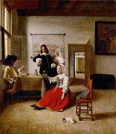 de Hooch Pieter - Woman drinking with soldiers