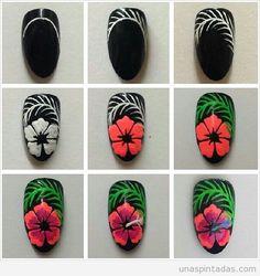 DYI Nail Art Blumen Nageldesign Nail Art Nail Tutorials Nagel Maniküre Source by trangxjnk Nail Manicure, Diy Nails, Cute Nails, Pretty Nails, Manicures, Nail Art Hibiscus, Flower Nail Art, Hawaiian Nails, Nail Art Fleur