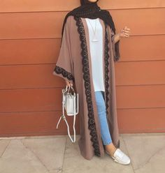 Long open cardigans abaya style- seen these around and I'm desperate to buy one, they're gorgeous ✨ Hijab Fashion Summer, Modern Hijab Fashion, Hijab Fashion Inspiration, Islamic Fashion, Abaya Fashion, Muslim Fashion, Modest Fashion, Fashion Outfits, Style Inspiration