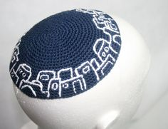 kippah navy blue with white embroidery Old City by crochetkippah
