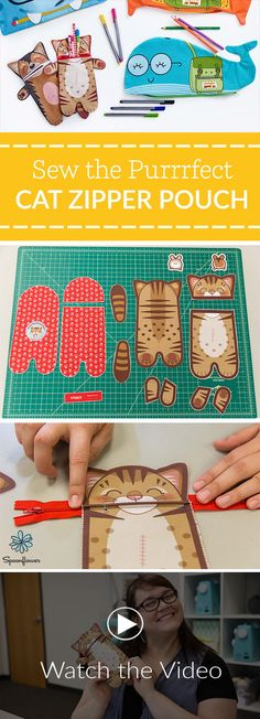 Sew the Purrrfect Cat Zipper Pouch | Video Tutorial - The cats out of the bag! One of our most popularfat quarter projectsis now a video tutorial and making it's DIY debut for your crafting pleasure. Are you ready to see why we thinkthis zipper pouchis the purrrfect gift for any cat-loving friend? Check out the full, step-by-step tutorial below or follow along with the video tutorial to get started. #diy #sewing #kidsdiy #sewit #cutandsew #easysewing #sewingtutorial #sewingpattern
